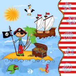 PAPSTAR Motivservietten Pirate Island, 330 x 330 mm
