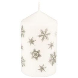 PAPSTAR Weihnachts-Stumpenkerze Snöstjärnor, weiß