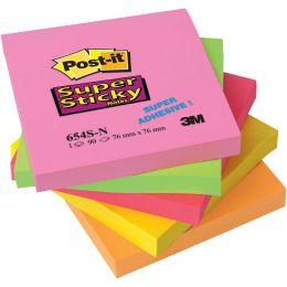 Post-it Haftnotizen Super Sticky Notes, 76 x 76 mm, 4-farbig