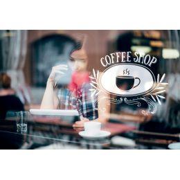 Securit Fensterschablonen-Set WINDOODLE, Motiv: Coffee-Shop