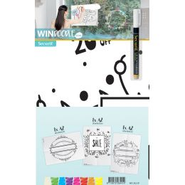 Securit Fensterschablonen-Set WINDOODLE, Motiv: Shop