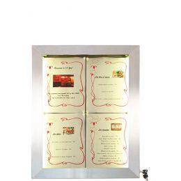 Securit LED-Schaukasten STAINLESS STEEL, 4 x DIN A4 Seiten