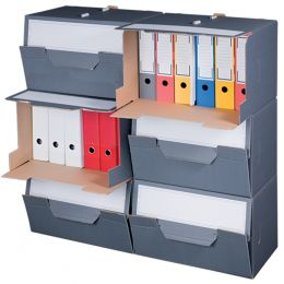 smartboxpro Archiv-Container, grau, mit Frontdeckel