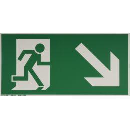 smartboxpro Hinweisschild Rettungsweg rechts, abwärts
