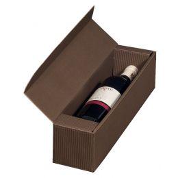 smartboxpro Wein-Präsentkarton, für 1 Flasche, braun