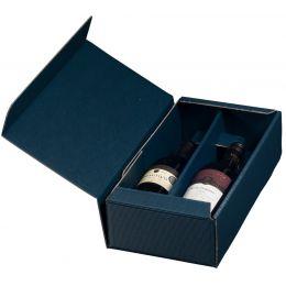 smartboxpro Wein-Präsentkarton, für 2 Flaschen, saphirblau