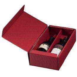 smartboxpro Wein-Präsentkarton, für 2 Flaschen, bordeaux