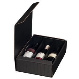 smartboxpro Wein-Präsentkarton, für 3 Flaschen, schwarz