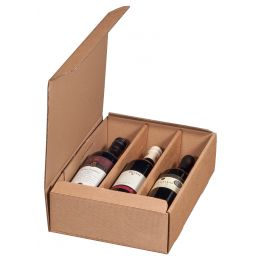 smartboxpro Wein-Präsentkarton, für 3 Flaschen, natura