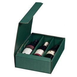 smartboxpro Wein-Präsentkarton, für 3 Flaschen, grün