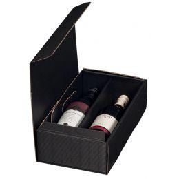 smartboxpro Wein-Präsentkarton, für 2 Flaschen, schwarz