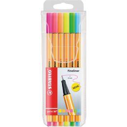 STABILO Fineliner point 88, 6er Kunststoff-Etui, Neonfarben
