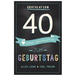 SUSY CARD Geburtstagskarte - 40. Geburtstag schwarz