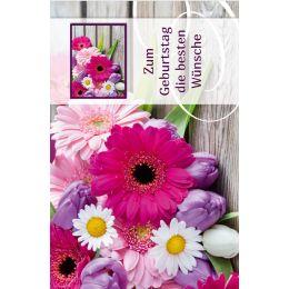 SUSY CARD Geburtstagskarte Gerbera und Tulpen