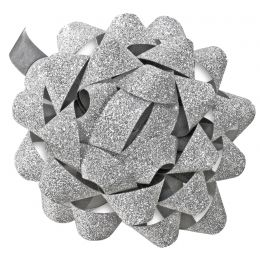 SUSY CARD Geschenkrosetten Glitter, silber