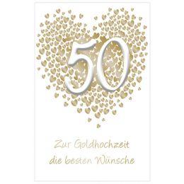 SUSY CARD Hochzeitskarte - Goldhochzeit Herz