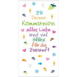 SUSY CARD Kommunionskarte Geldschein Kleine Symbole