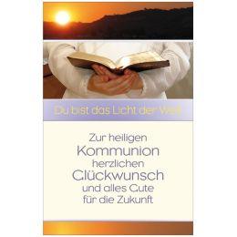SUSY CARD Kommunionskarte Kinderhände halten Gesangbuch