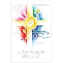 SUSY CARD Kommunionskarte Kreuz, Engel, Kelch
