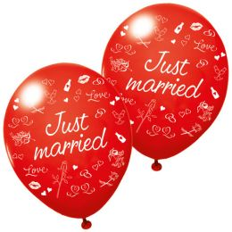 SUSY CARD Luftballons Just married, rot