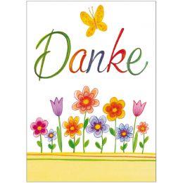 SUSY CARD Minikarte - Danksagung Blumen gezeichnet