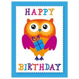 SUSY CARD Minikarte - Geburtstag Text mit bunten Streifen