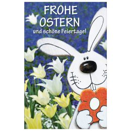 SUSY CARD Oster-Grußkarte Hase-Tulpen