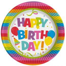 SUSY CARD Pappteller Happy Birthday, Durchmeser: 225 mm