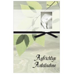 SUSY CARD Trauerkarte Blätter, Callas, Schleife