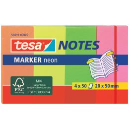 tesa Marker Notes Haftmarker, Neonfarben, 50 x 20 mm
