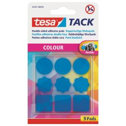 tesa TACK Klebepads, blau transparent, beidseitig klebend