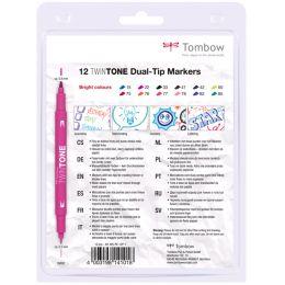 Tombow Doppelfasermaler TwinTone Bright Colours, 12er Set