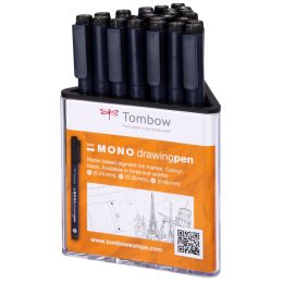 Tombow Fineliner MONO drawing pen, Strichstärke 05, 24er