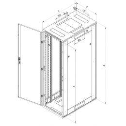 TRITON 19 Netzwerkschrank RJA, Zweiflügel-Glastür, 15 HE