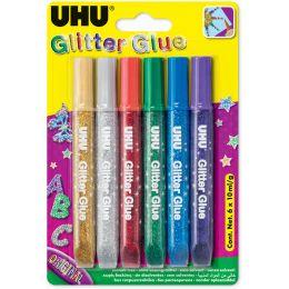 UHU Glitzerkleber Glitter Glue Original, Inhalt: 6 x 10 ml