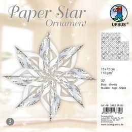 URSUS Designsterne Paper Stars Ornament, weiß/silber