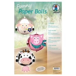URSUS Designstreifen Funny Paper Balls Farmtiere